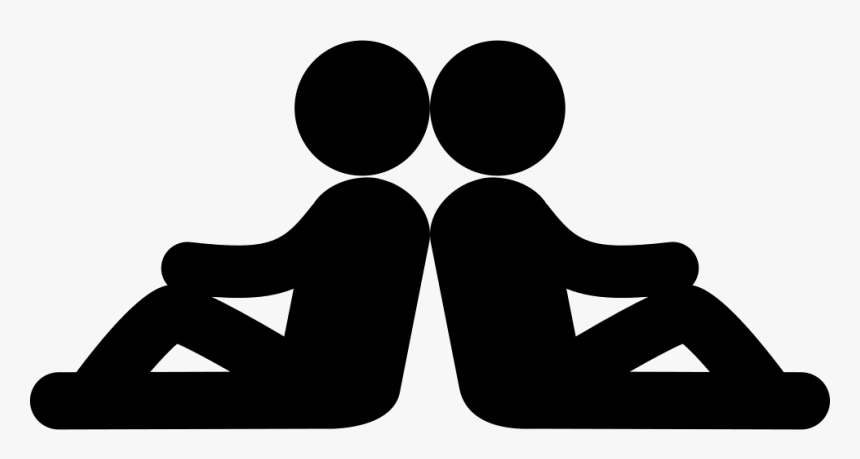 Two Persons Sitting Back With Back In Symmetrical Posture.