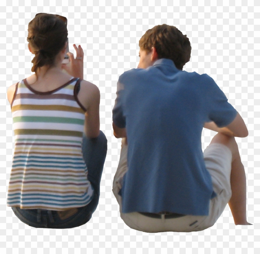 Person Sitting Back View Png, Transparent Png.