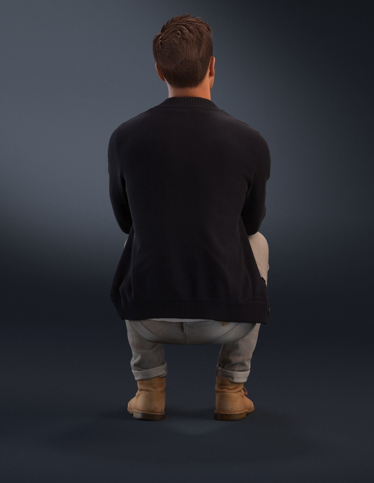 Person Sitting Back Png (+).