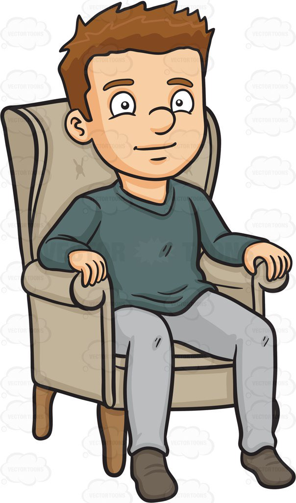 A Man Relaxing On A Single Couch Cartoon Clipart.