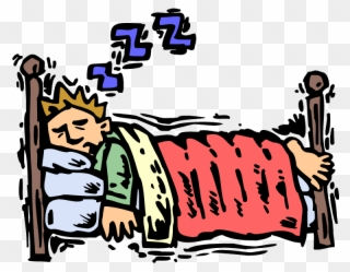 Falling Asleep In Bed Clipart.