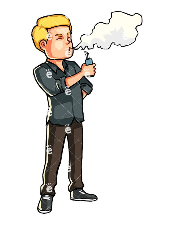 A Man Using An Electronic Cigarette.