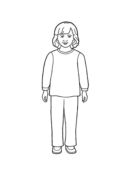 Standing Girl Clipart Black And White.