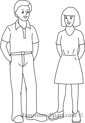 Woman Clipart Black And White Standing.