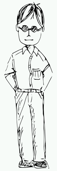 Man Standing Clipart Black And White.