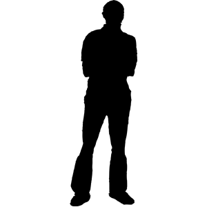 Person Standing Silhouette Vector.