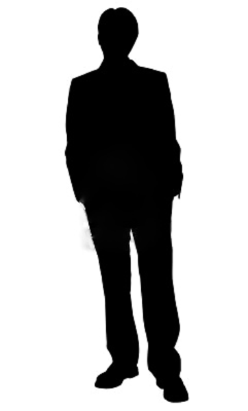 Business Man Standing Silhouette In Black And White.