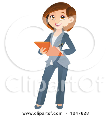 Clipart of a Professional Brunette Business Woman Taking Notes.