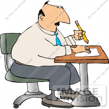 Business Man Writing Notes at a Desk Clipart.