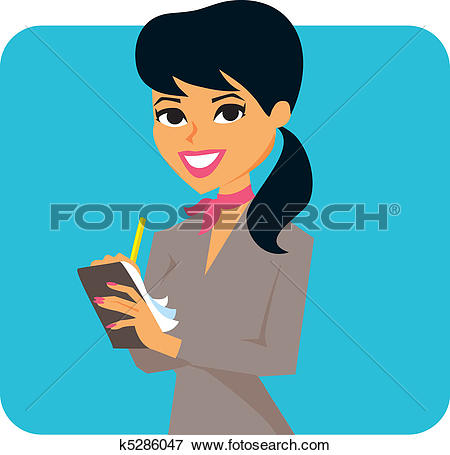 Clip Art of Woman taking notes k5286047.