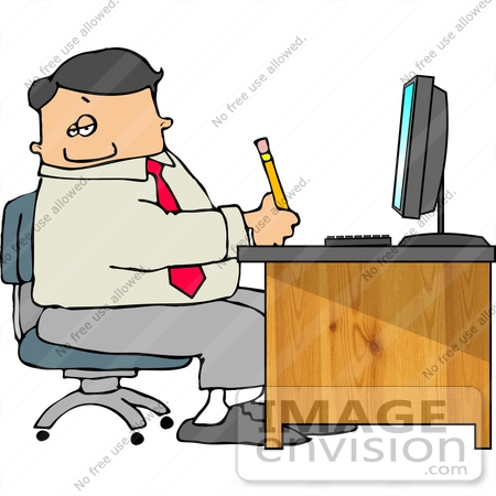 Caucasian Business Man Taking Notes at His Desk Clipart.