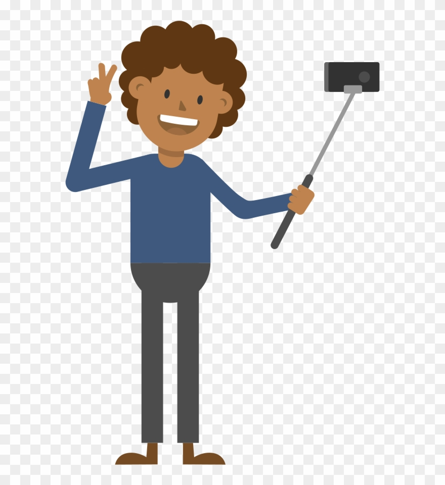 Black Man Taking A Selfie Cartoon Vector.