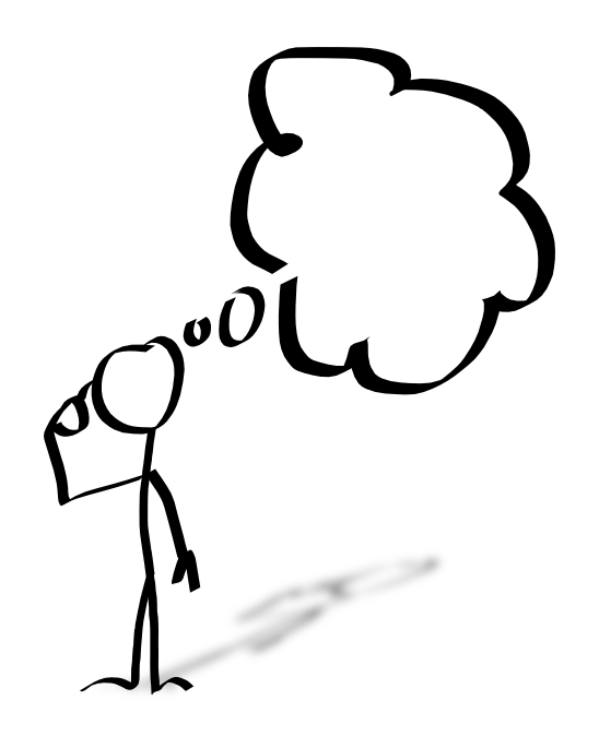 Person thinking man thinking clip art illustration.