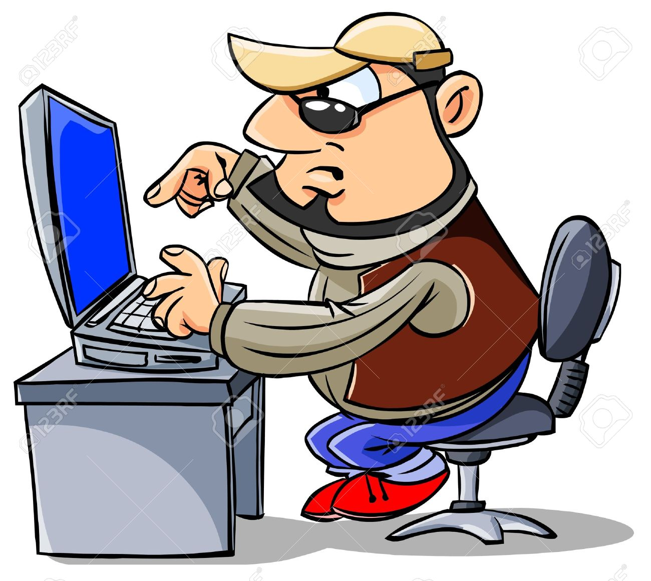 Person Typing On Keyboard Clipart.