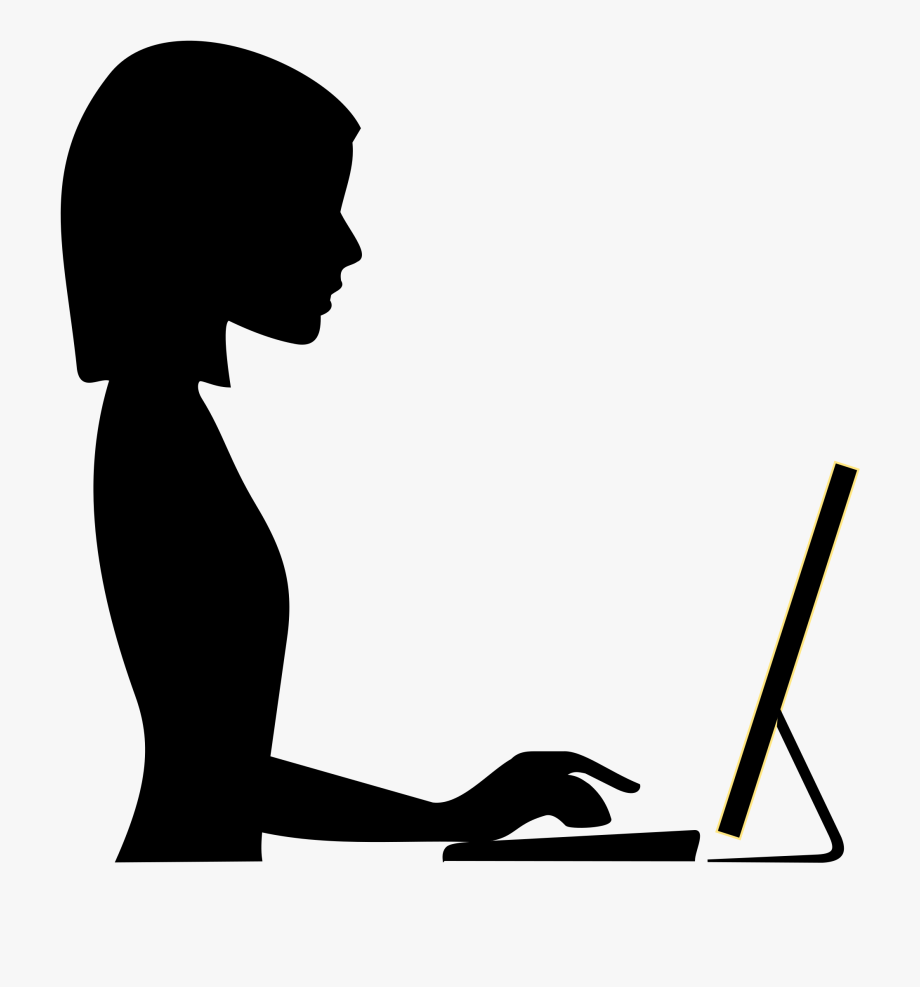 Clipart Of Female Typing.