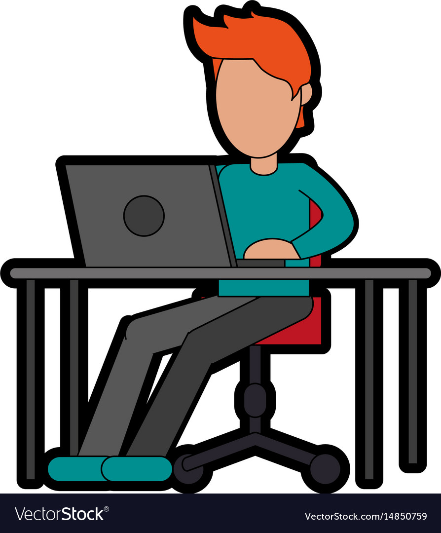Person using laptop computer icon image.