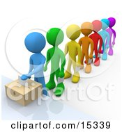 Clipart Picture of a White Person Standing Over A Black Ballot Box.