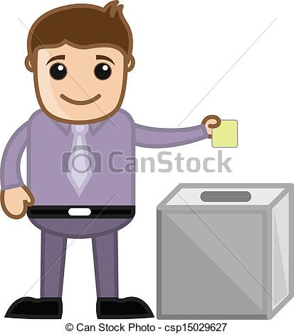 Vector Illustration of Man Voting.