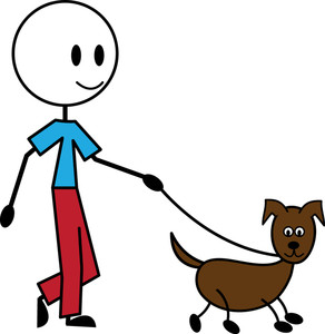 Clipart Of Walking A Dog.