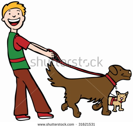 Cartoon Dog Walker Stock Images, Royalty.