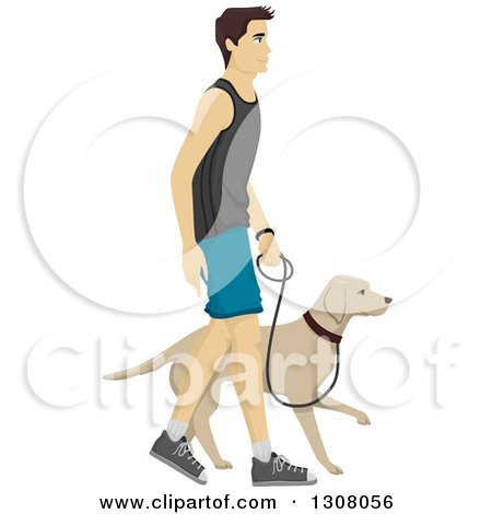 Clipart of a Happy Young Brunette Caucasian Man Walking a Dog.