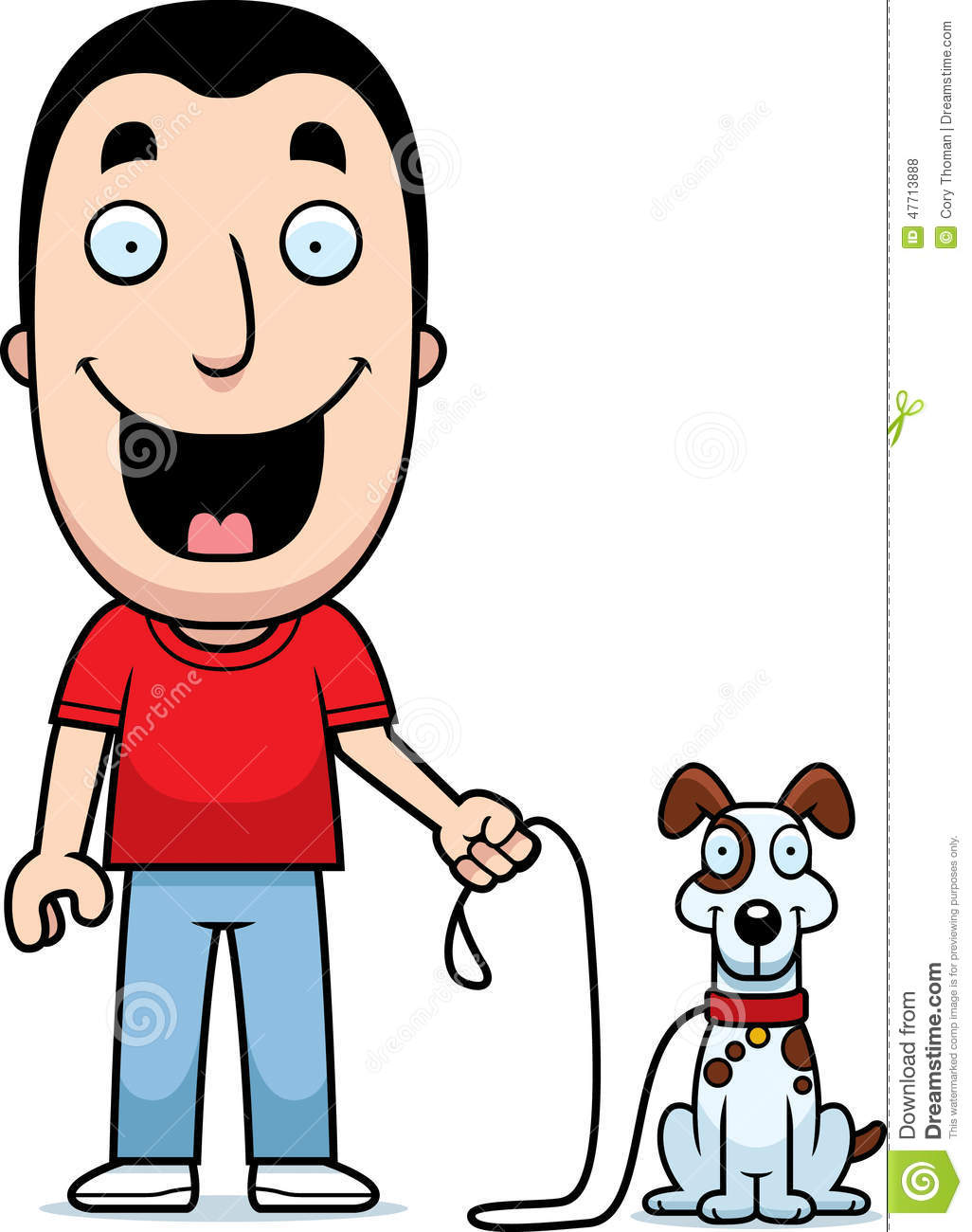 Cartoon Man Walking Dog Stock Vector.