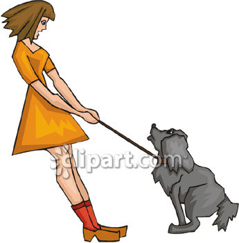 Woman Trying To Walk A Dog.