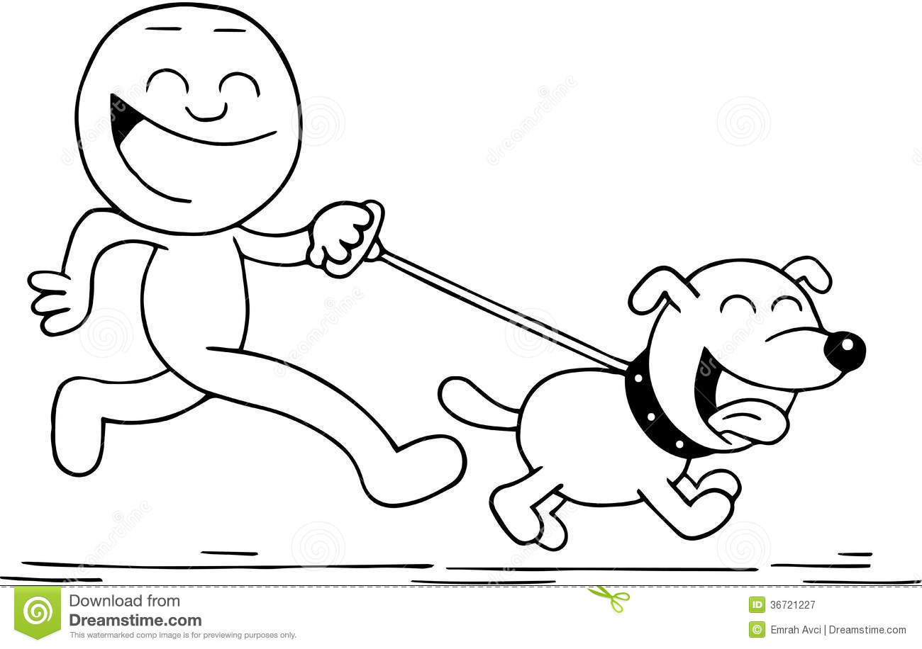 Smiling Man And Dog Running Royalty Free Stock Photography.