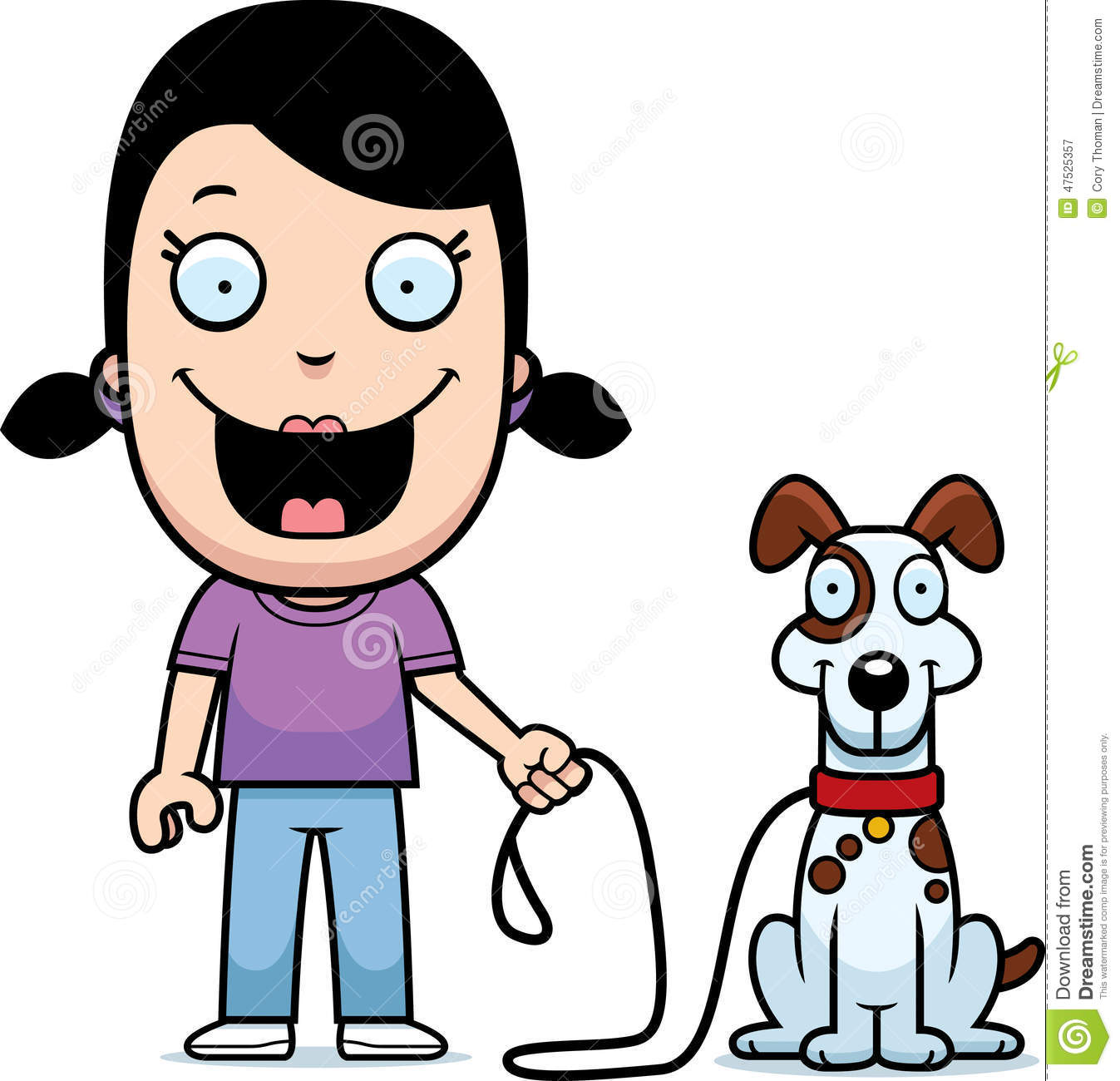 Cartoon Girl Walking Dog Stock Vector.