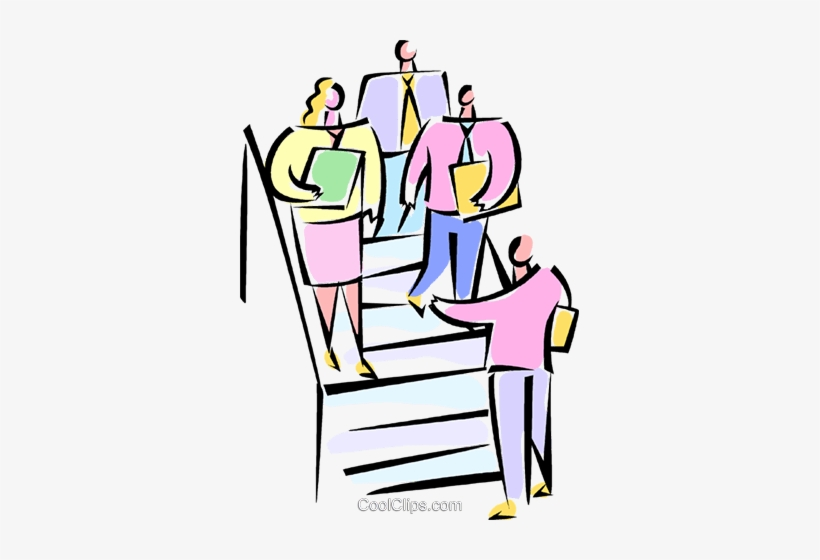 Businesspeople Walking Down The Stairs Royalty Free.