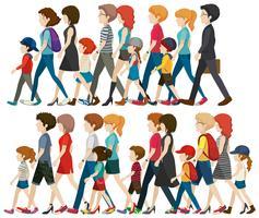 People Walking Free Vector Art.