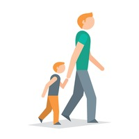 Person walking side view clipart.
