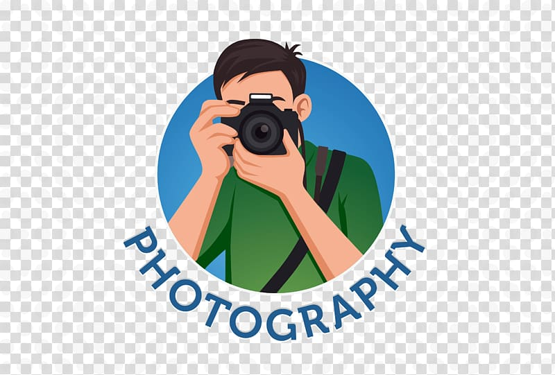 Person holding camera illustration, Logo grapher, camera man.