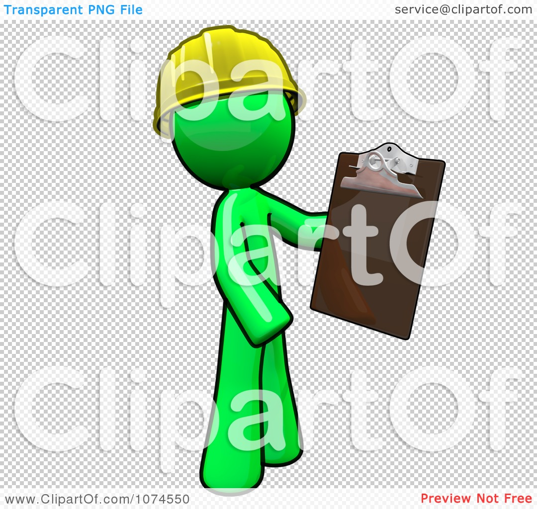 Clipart Lime Green Man Builder Holding A Clipboard.