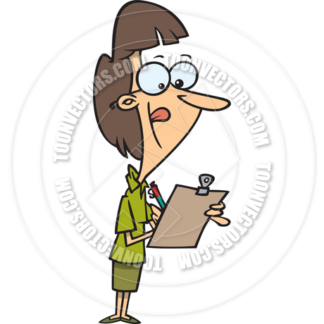 Cartoon Woman with Clipboard by Ron Leishman.
