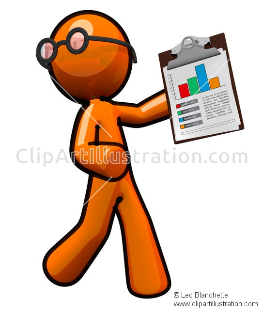 ClipArt Illustration of 3d Orange Man with ClipBoard and Graph.