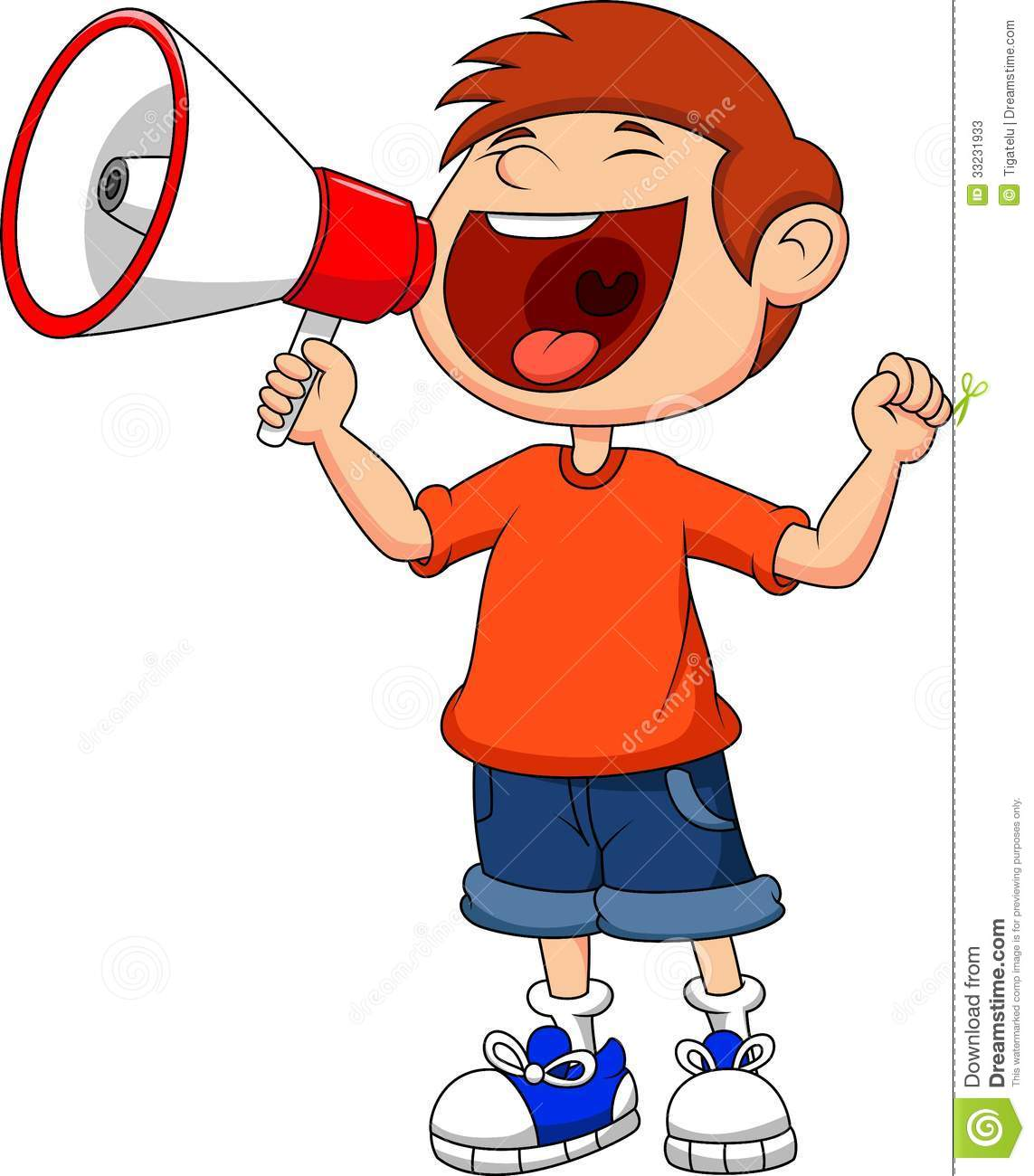 YELLING IN MEGAPHONE CLIPART IMAGE.