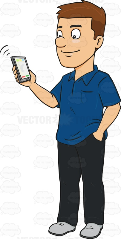 Person Holding Phone Clipart.