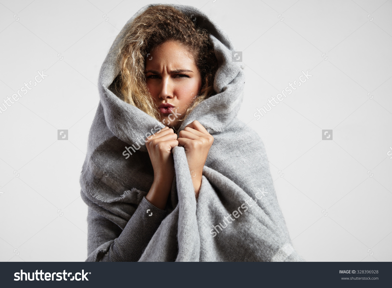 Woman Wrapped In Blanket Clipart.