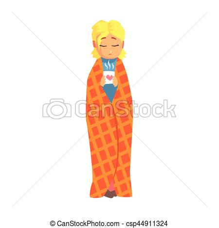 Vector Illustration of Girl Wrapped In Blanket With Hot Drink.