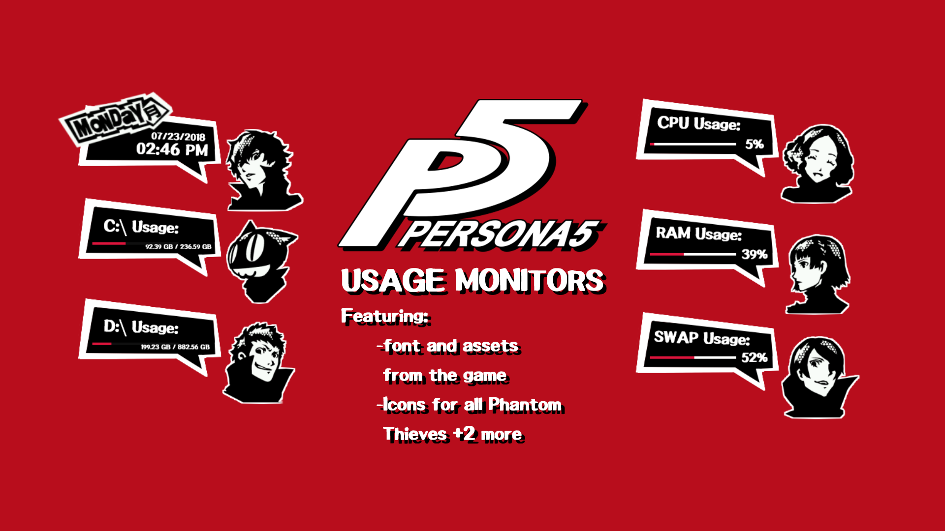 Persona 5 Rainmeter Measures by Faeriauro on DeviantArt.