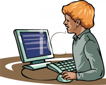 Royalty Free Clip Art Image: Small Boy Using a PC Computer.