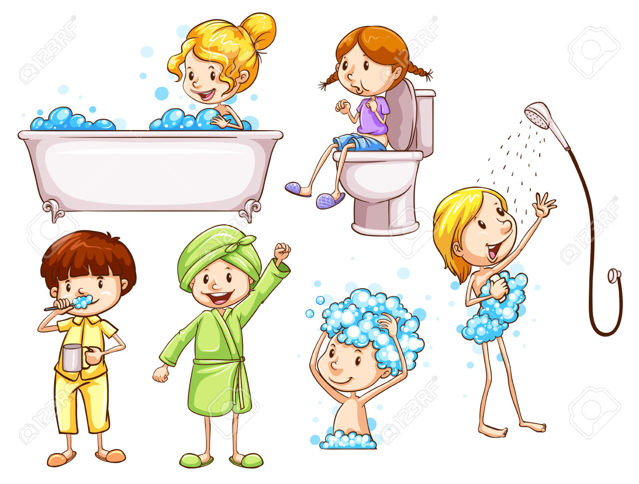 Good Grooming For Kids Clipart.