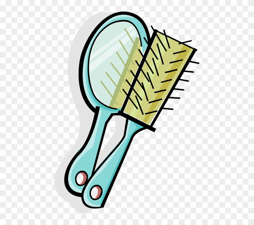 Vector Illustration Of Personal Grooming Mirror And.