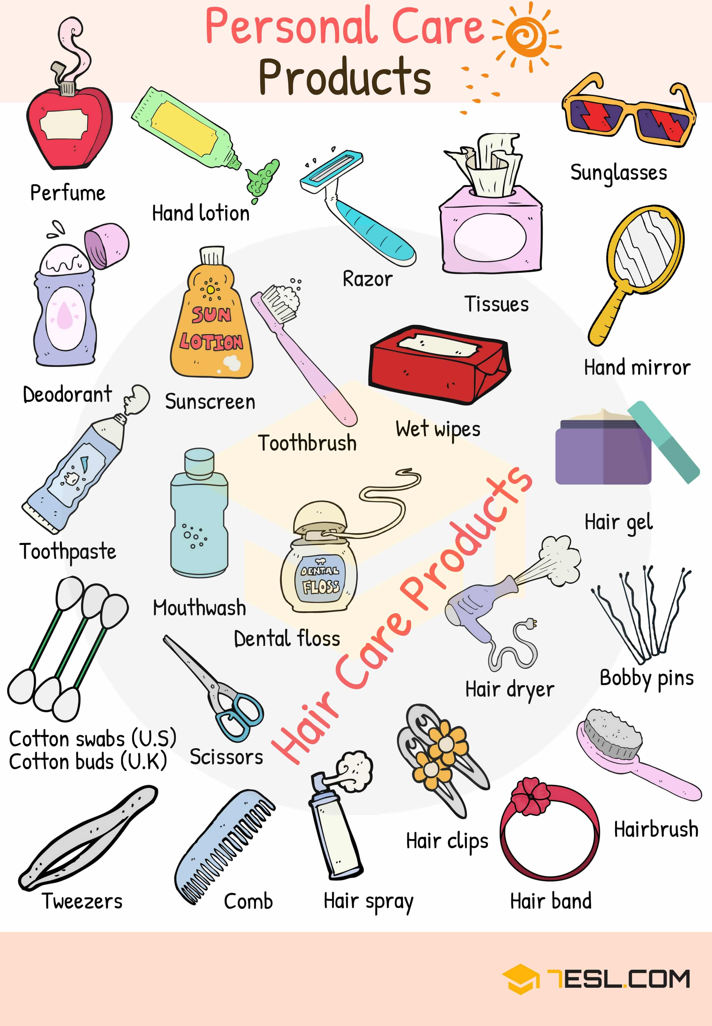 Personal Care Products Vocabulary Words List.