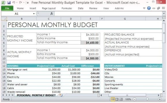 Free Personal Monthly Budget Template For Excel.