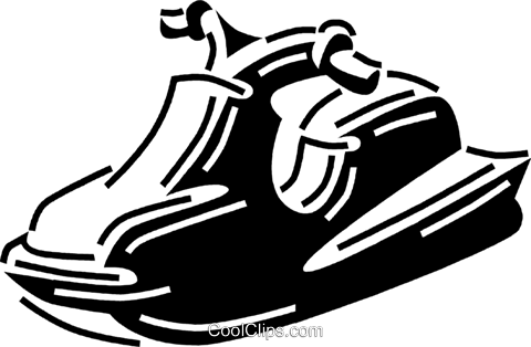 Personal Watercraft Royalty Free Vector Clip Art illustration.
