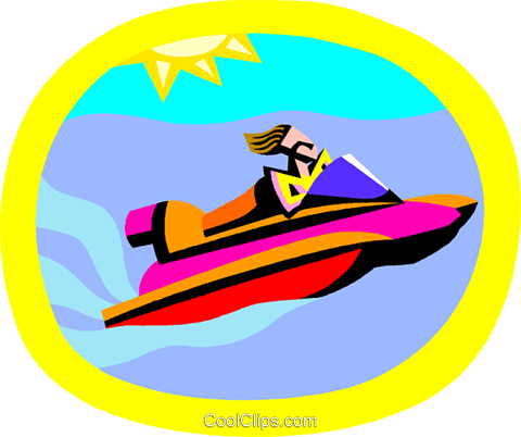 water sports, personal watercraft Royalty Free Vector Clip Art.