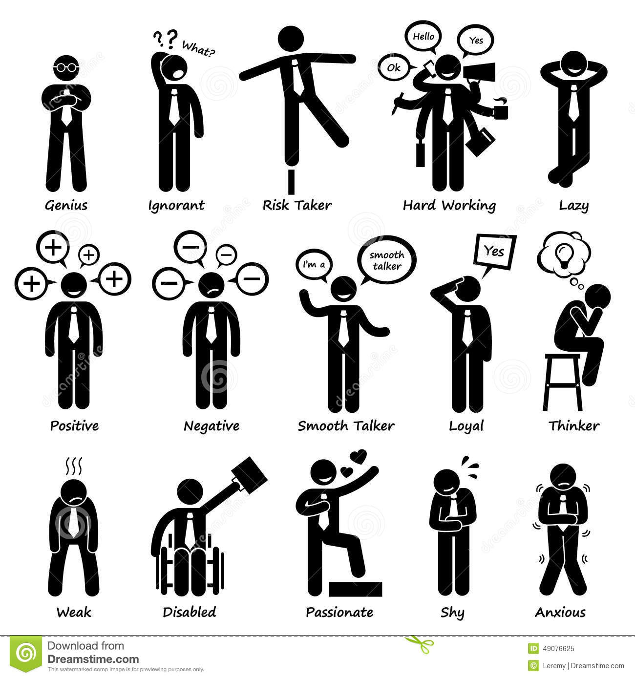 Businessman Attitude Personalities Characters Cliparts Stock.