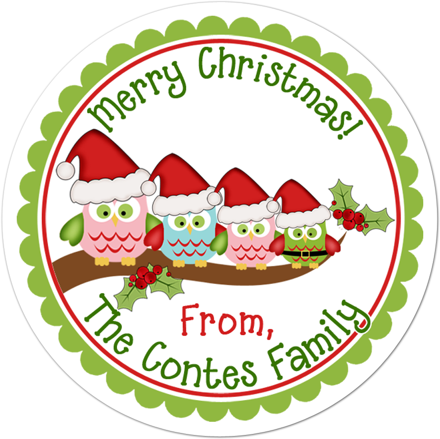 Owl Family Personalized Sticker Christmas Stickers Clipart.